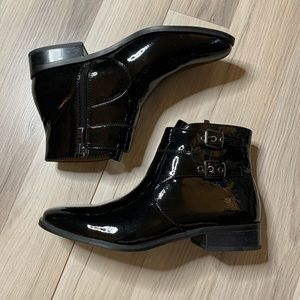 Franco Sarto Riddick Black Patent Ankle Boots